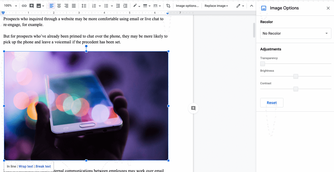 image options in google docs