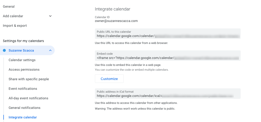 integrating calendars in gcal