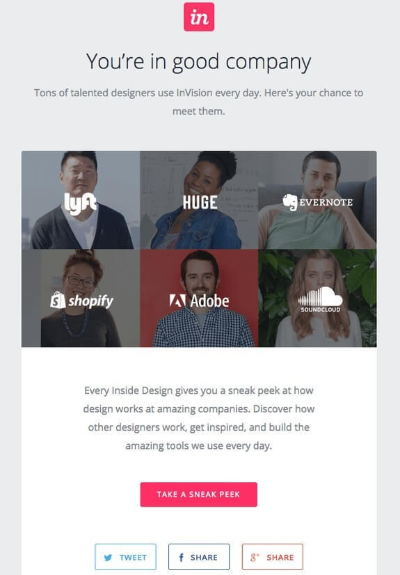 invision welcome email for customers