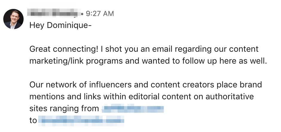 linkedin message to get a sale