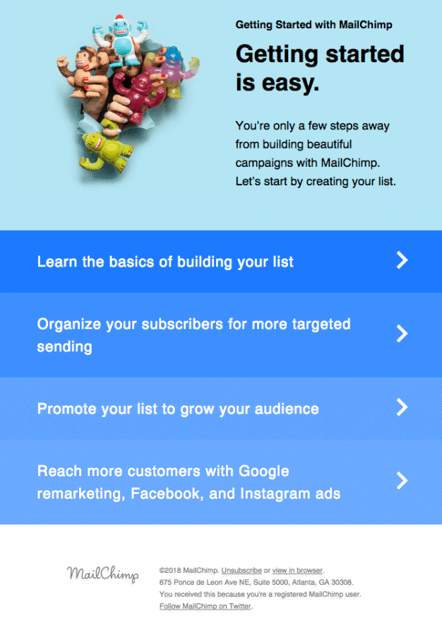 mailchimp customer onboarding email example
