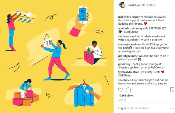 mailchimp instagram post about customers