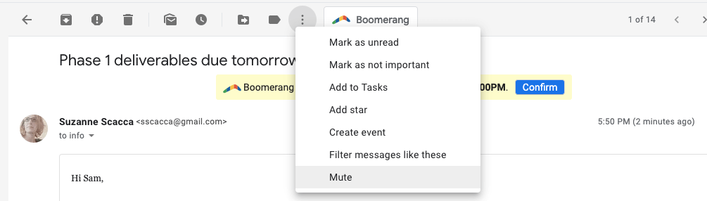 muting convos in gmail