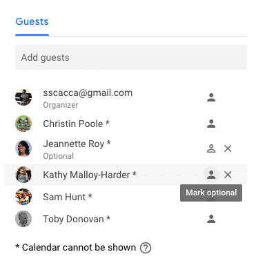 setting optional guest attendance in gcal