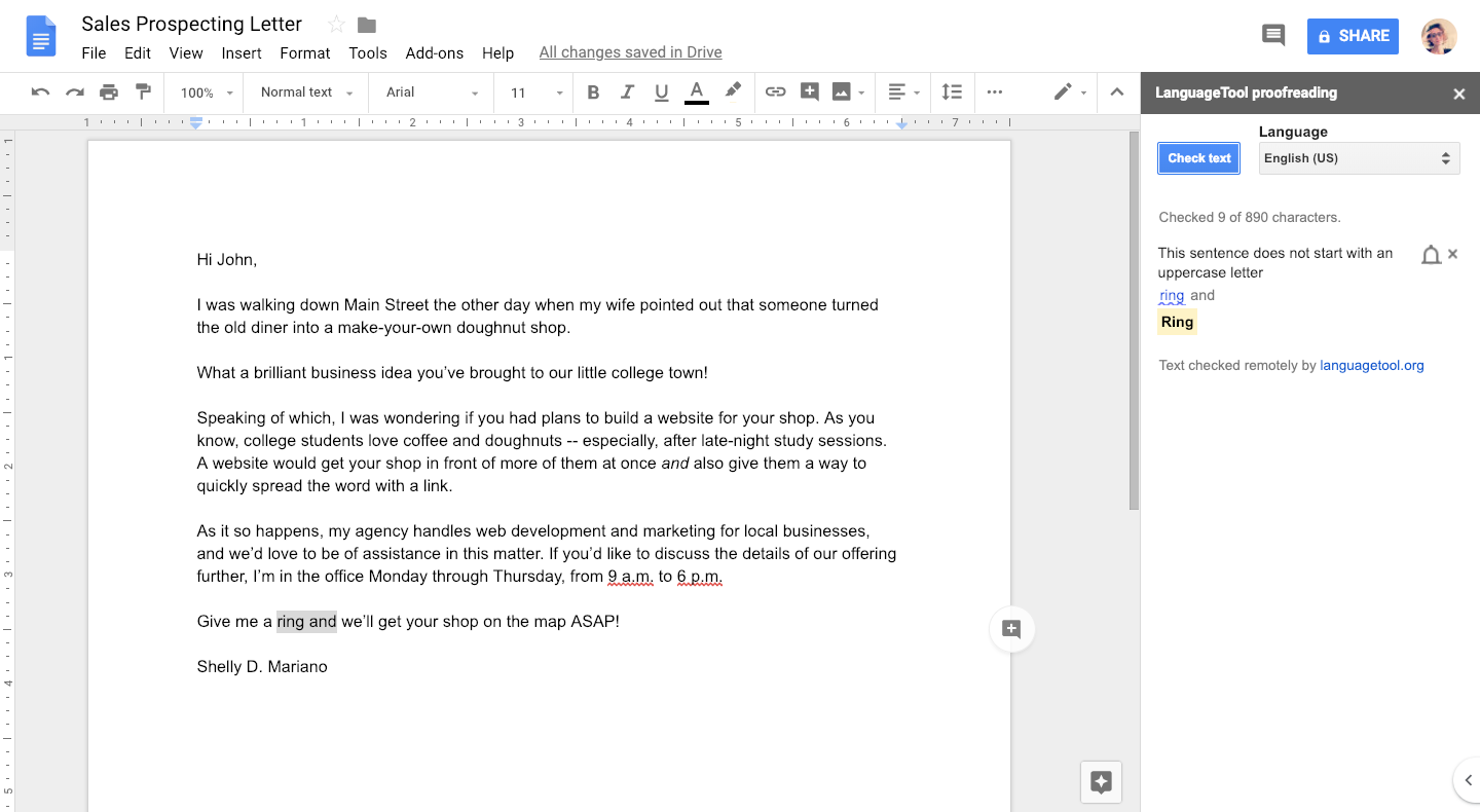 using google docs to proofread sales prospecting letters