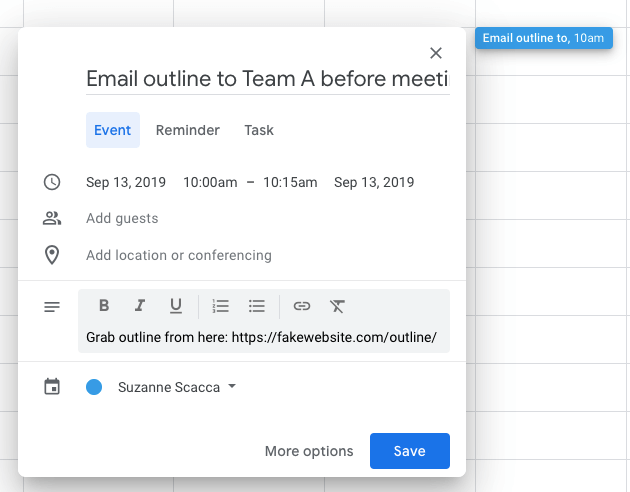 quickly add a new event in google calendar