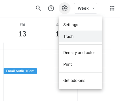 restoring events in the trash in google calendar
