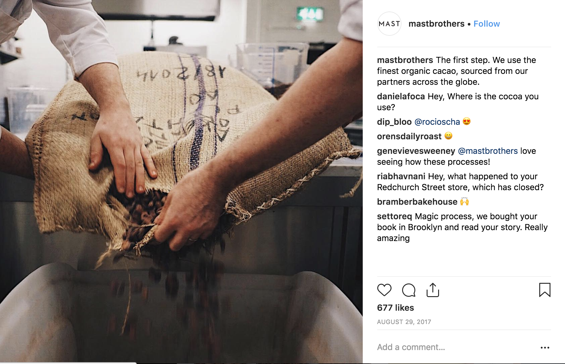 mast brothers instagram post about how chocolate is made