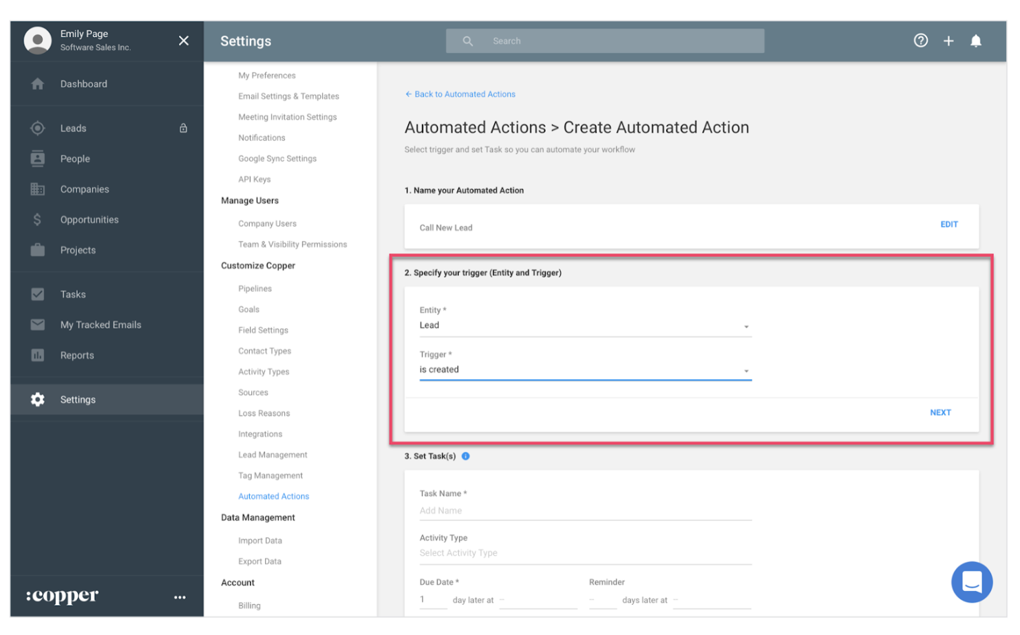 Copper CRM's series of automated actions allows users to create time-saving workflows
