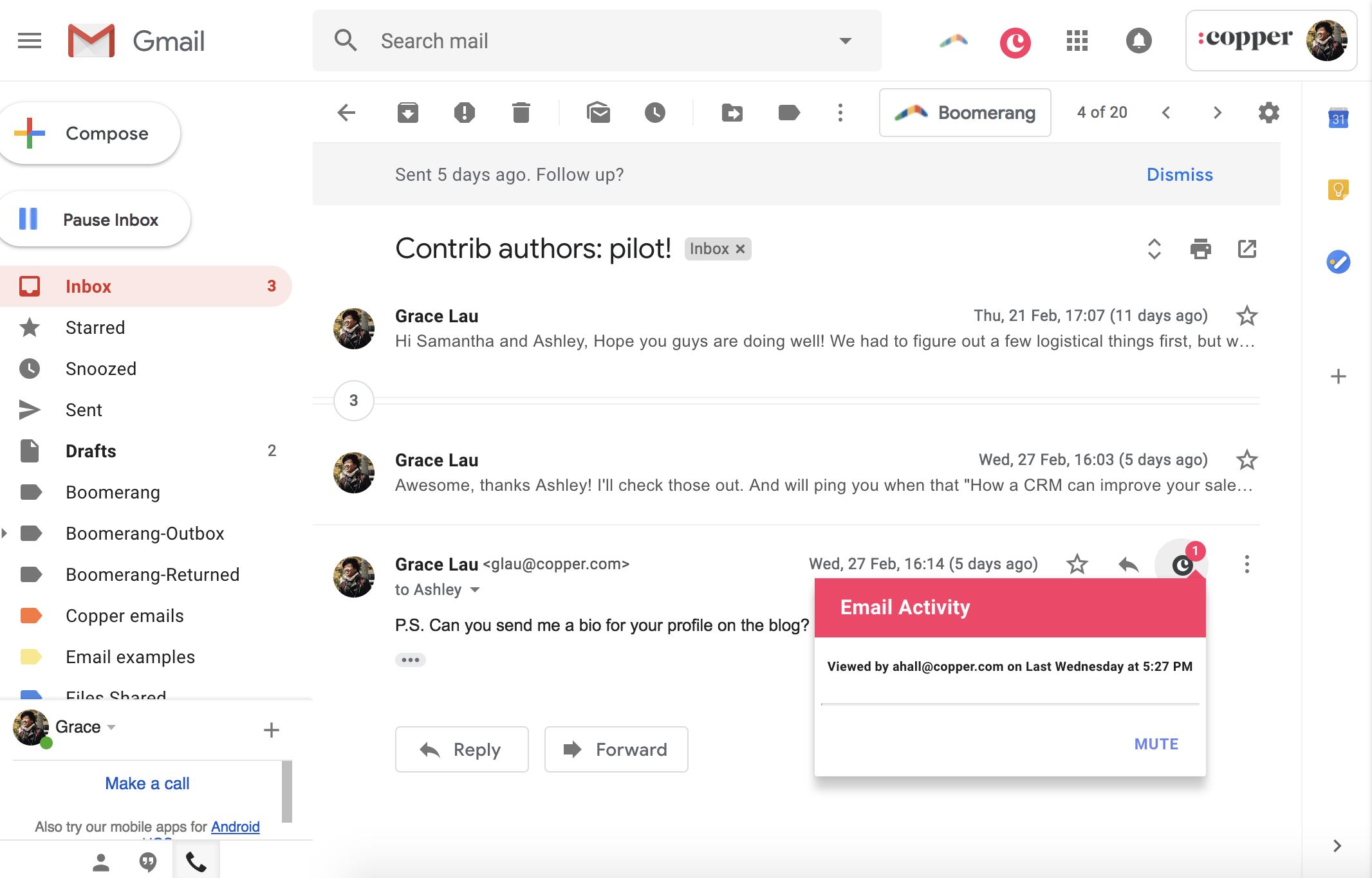 copper crm tells you when someone opened your emails