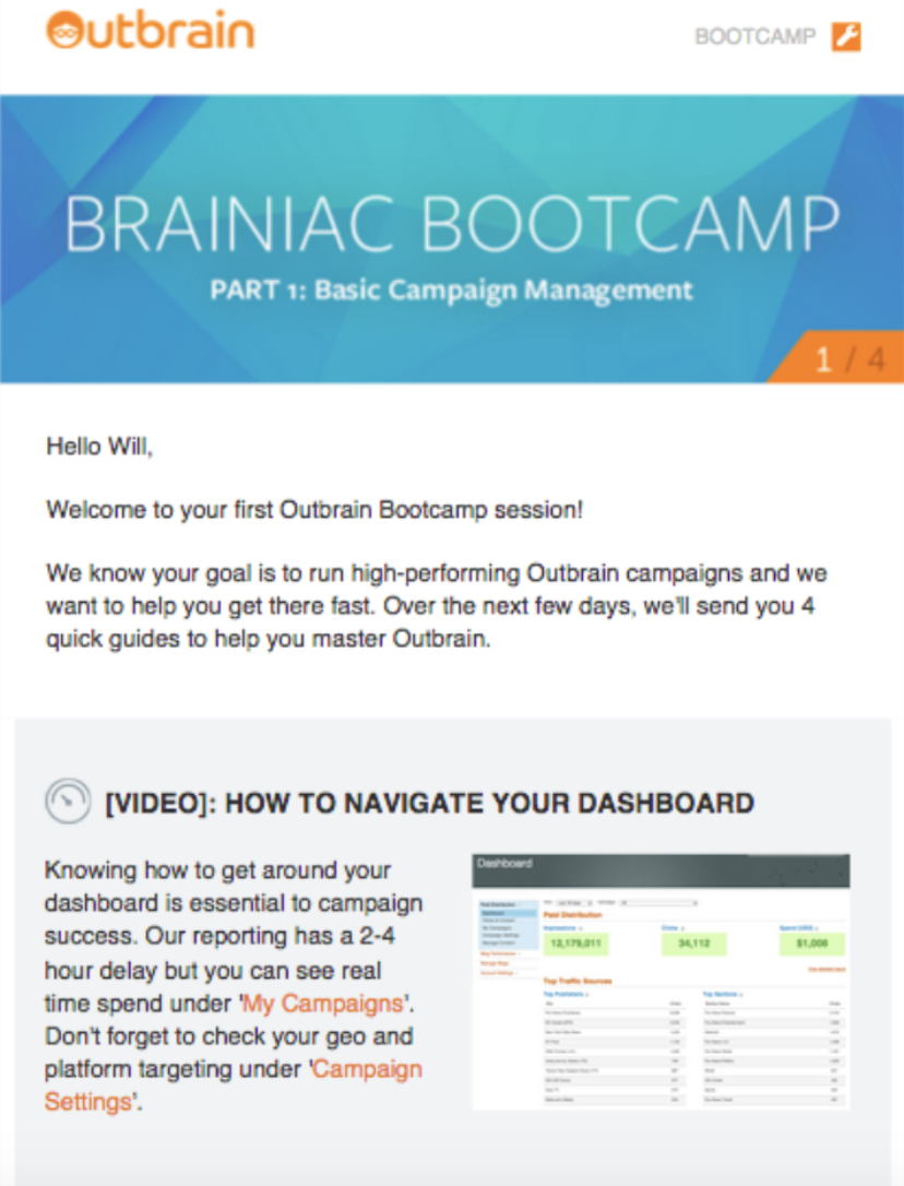 Outbrain's Bootcamp session onboarding