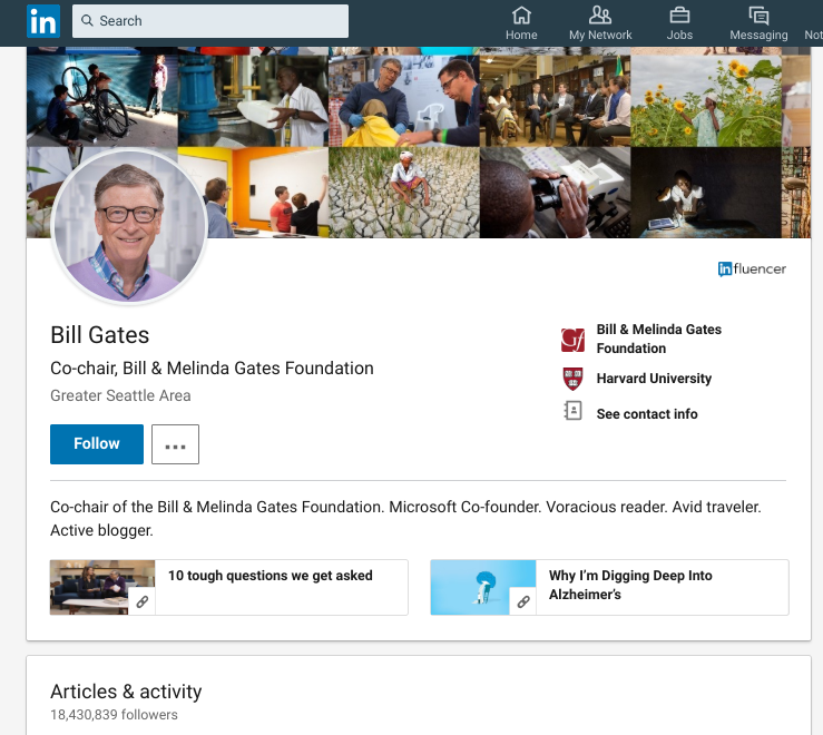 bill gates linkedin profile