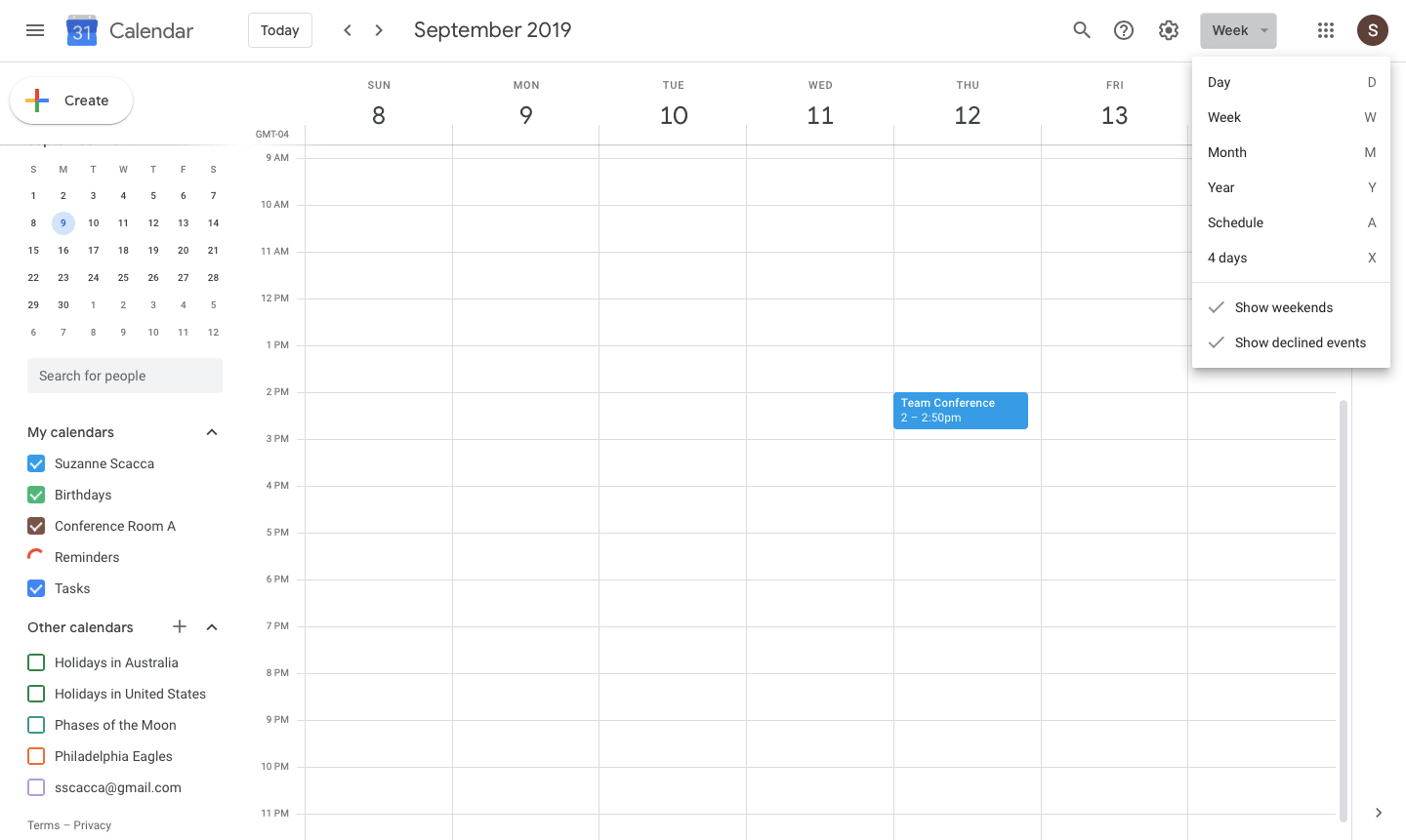 google calendar default weekly view