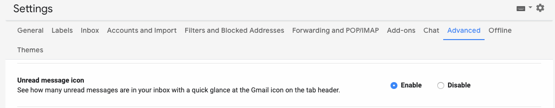 unread gmail messages under settings