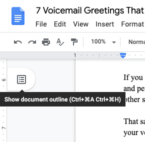 how to show google docs outline