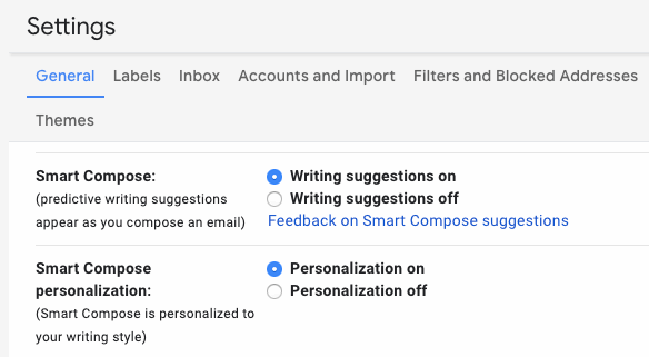 configuring smart compose in gmail