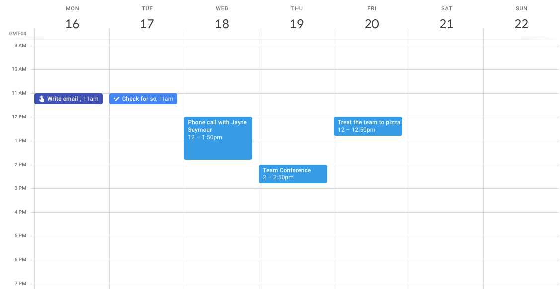 google calendar options for different start days for the week