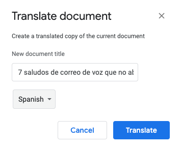 how to translate a document in google docs