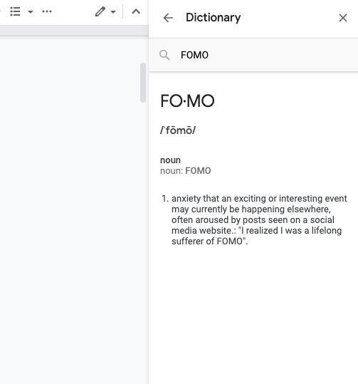 using the built-in dictionary in google docs