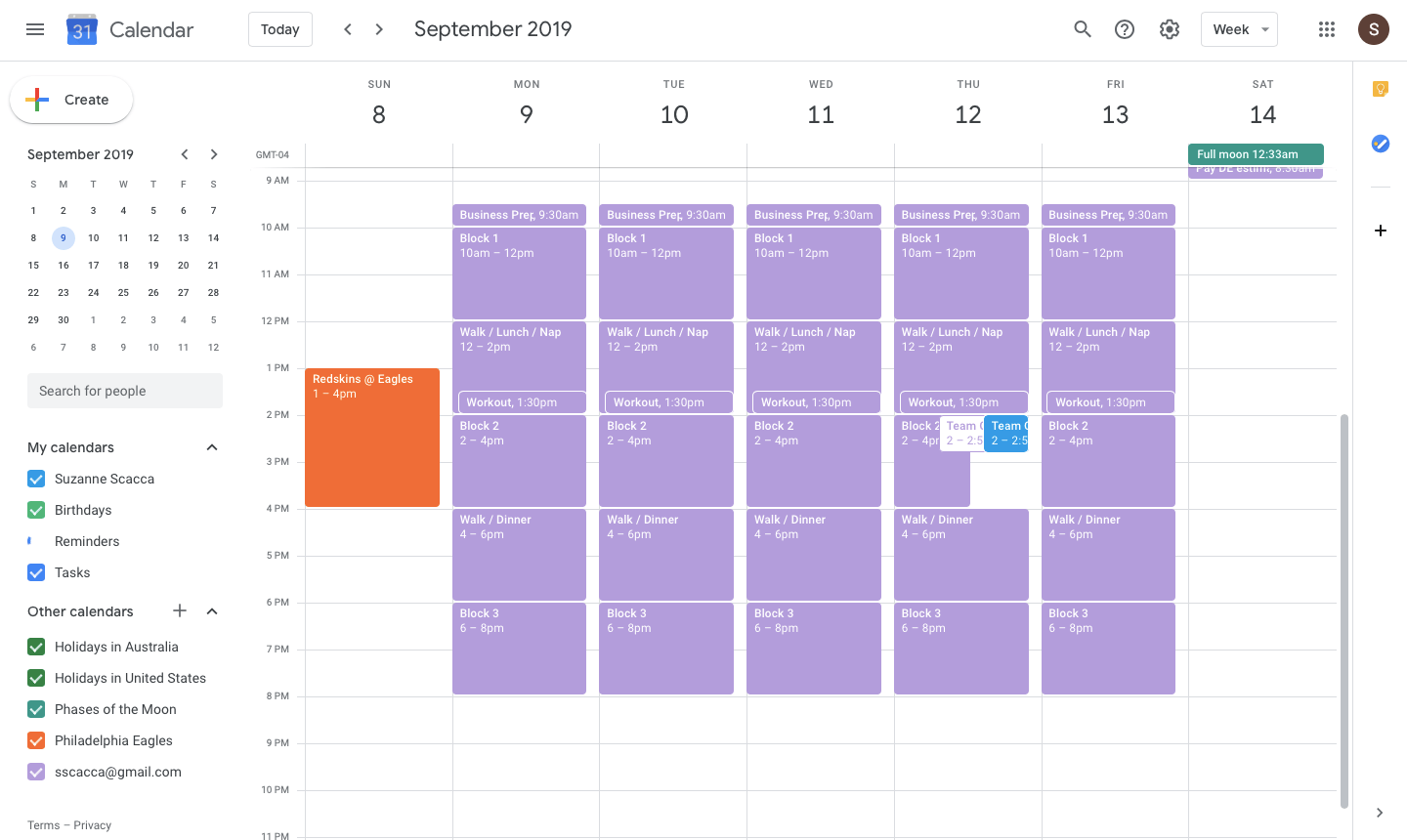 seeing multiple calendars in gcal