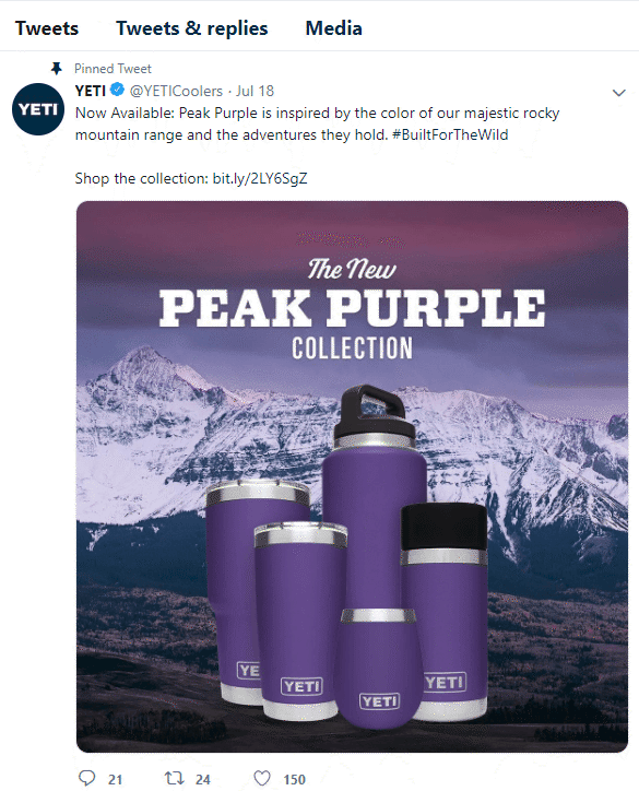 yeti pinned tweet on twitter