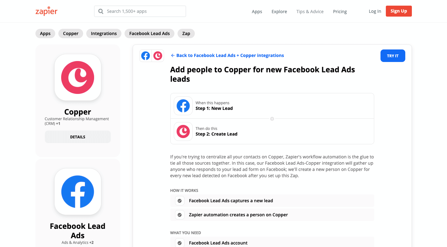 Zapier Facebook Ads Copper