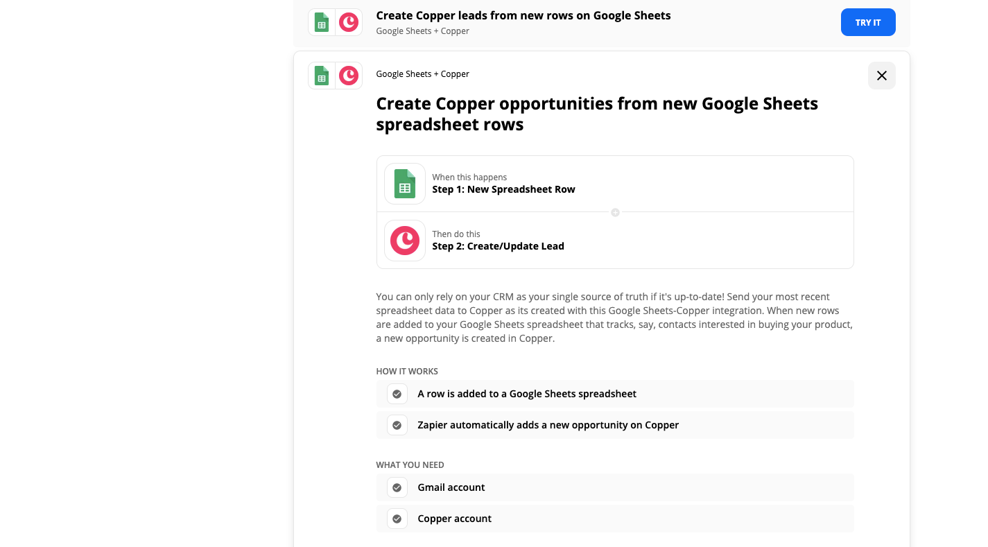 Zapier Google Sheets Copper