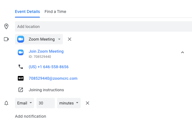 zoom meeting details in google calendar
