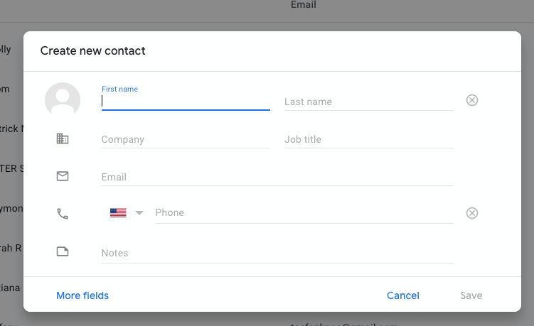 adding a new contact to google
