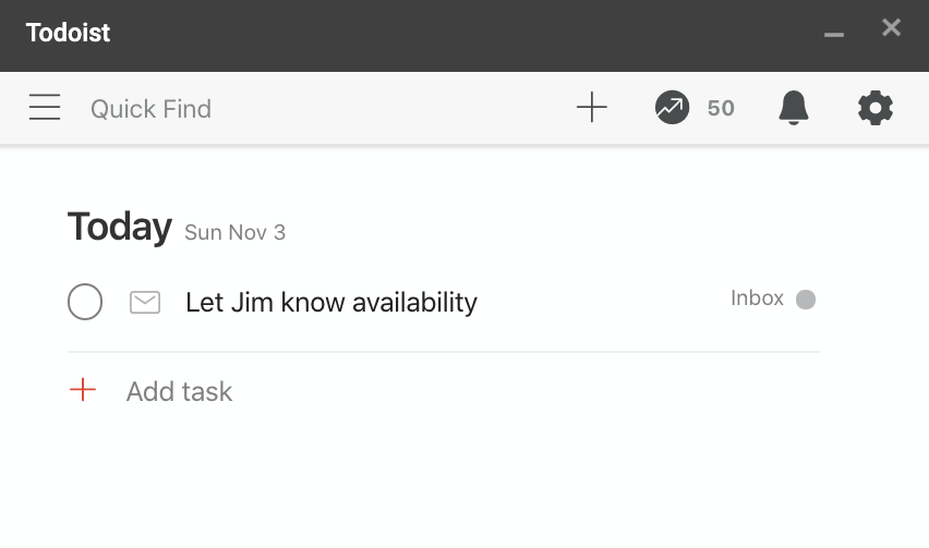 adding a task in todoist