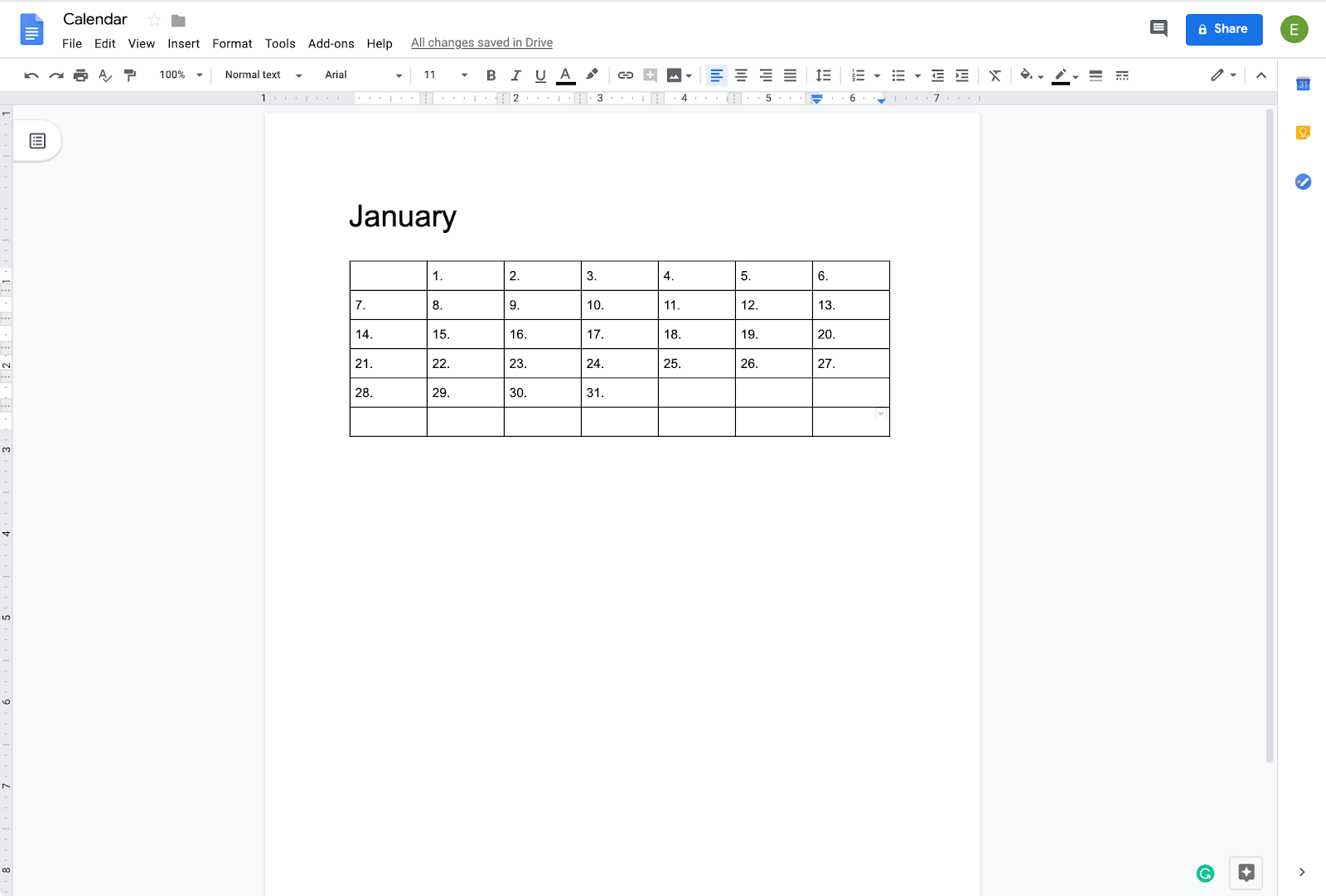 adding dates to calendar in google doc