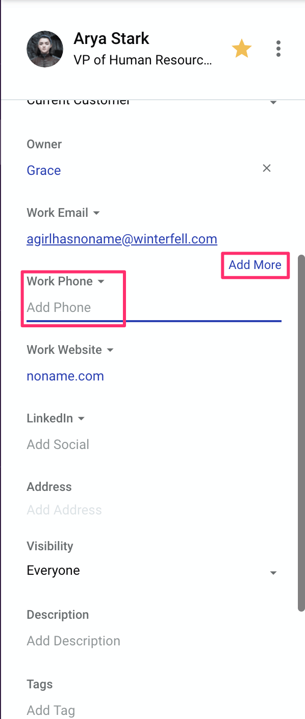 adding multiple contact details in copper crm