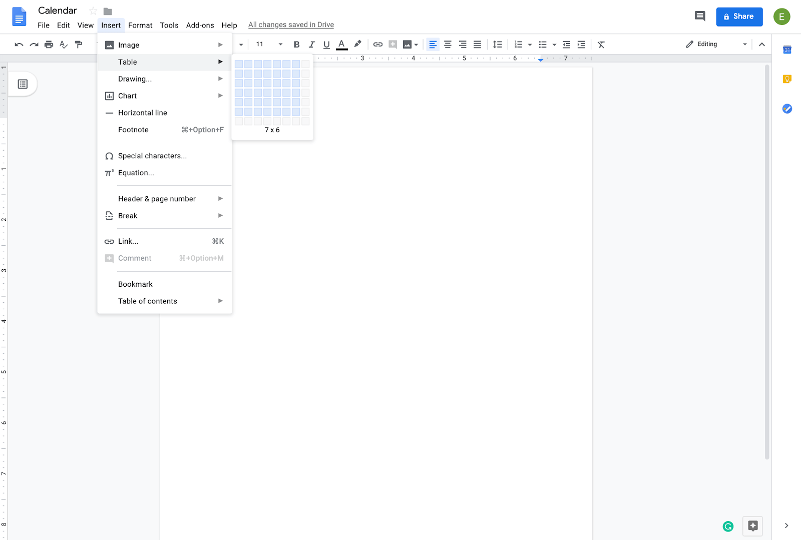adding table to new calendar in google docs