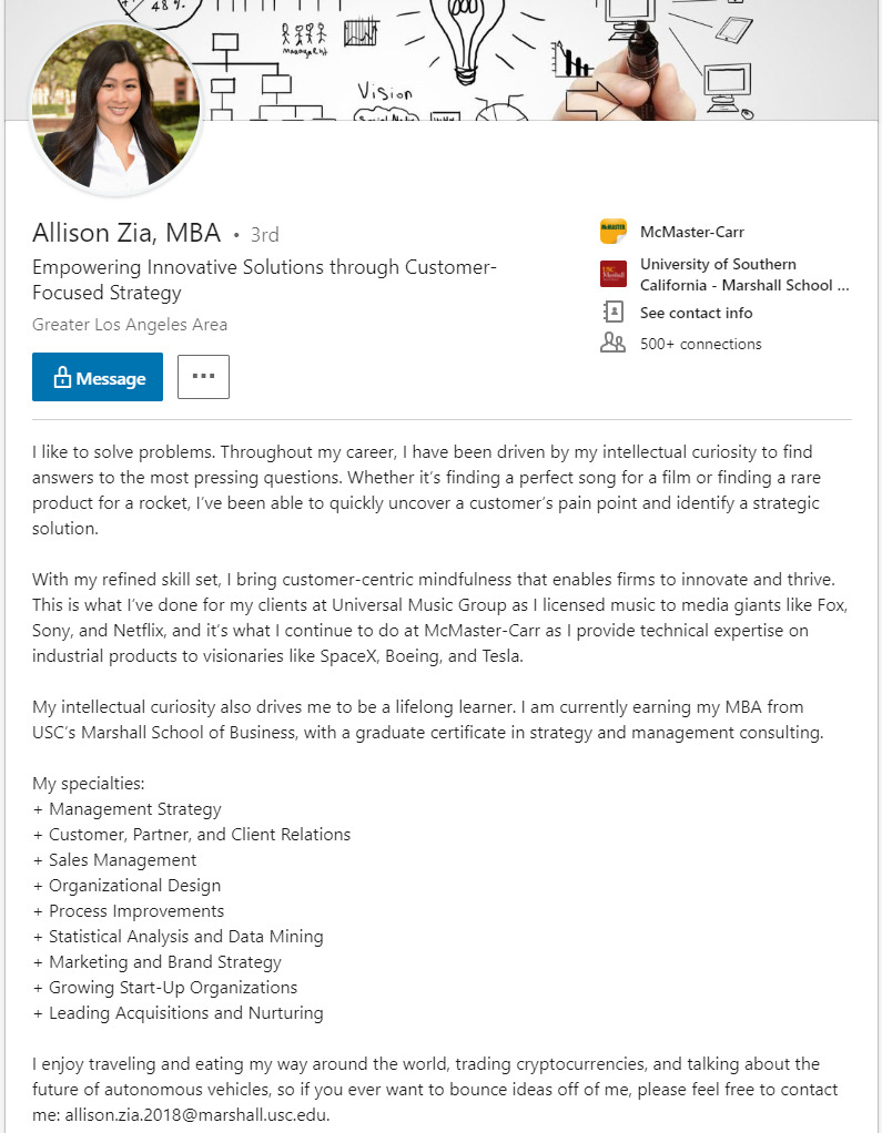 example of storytelling in a linkedin summary
