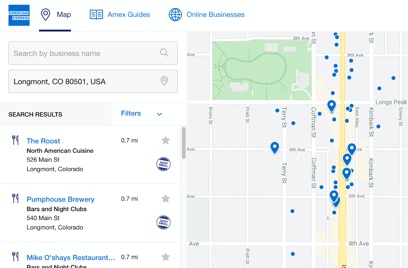 amex small business map