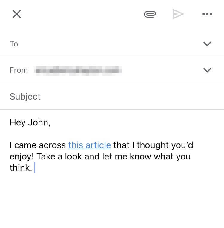 anchor text in gmail message