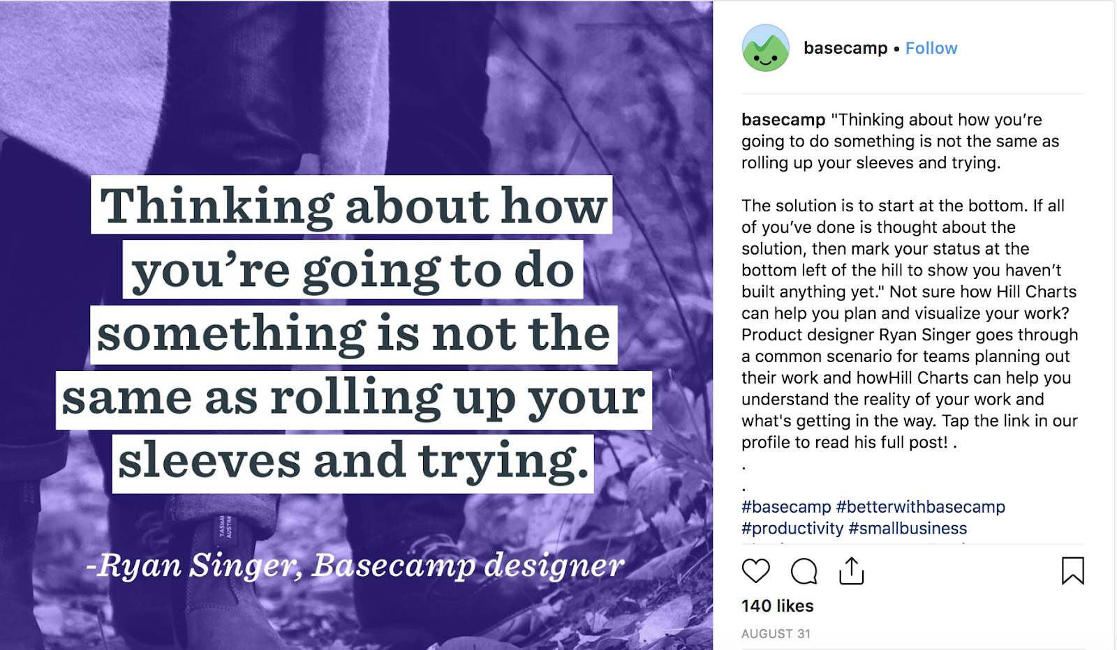 basecamp engages customers through instagram