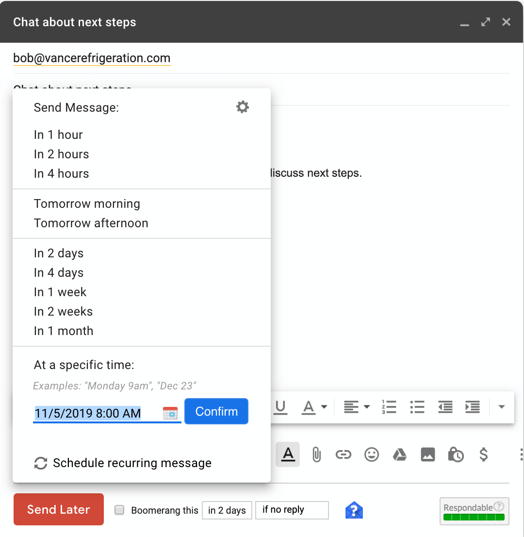 boomerang options for gmail