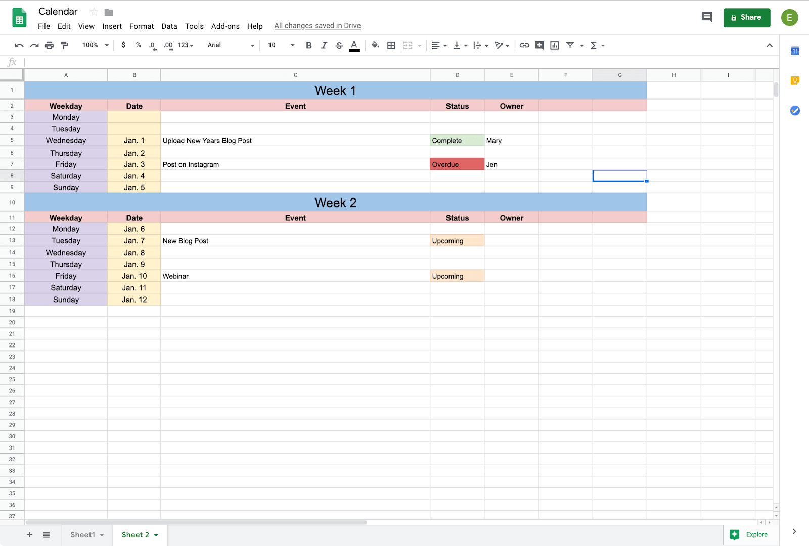 built out calendar in google sheets