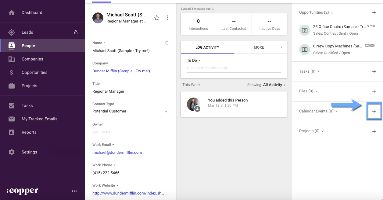 copper crm's google calendar integration