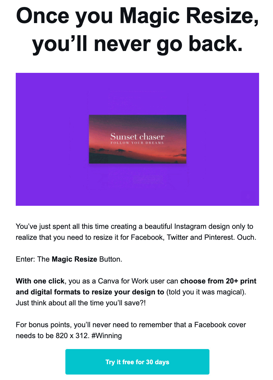 canva product email example