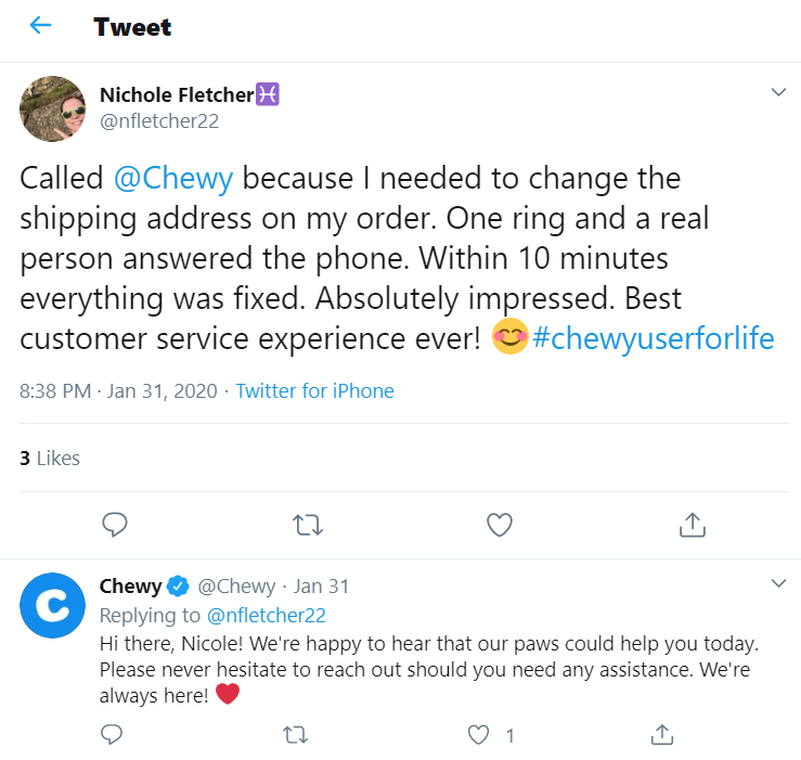 chewy twitter reply