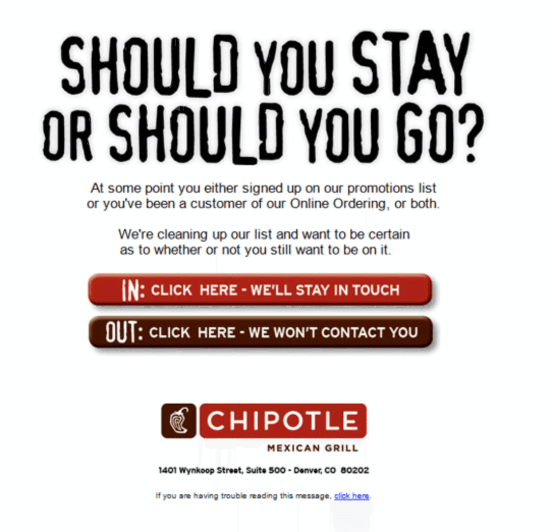 chipotle re opt in email