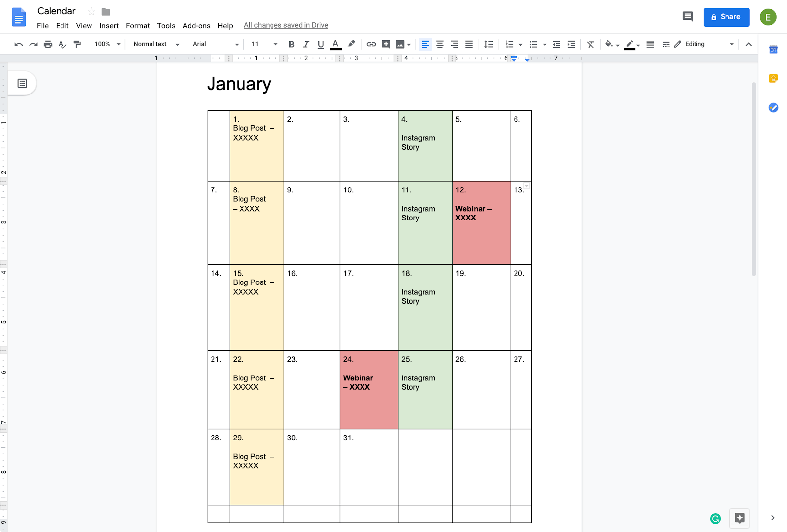 color-coordinating a calendar in google docs
