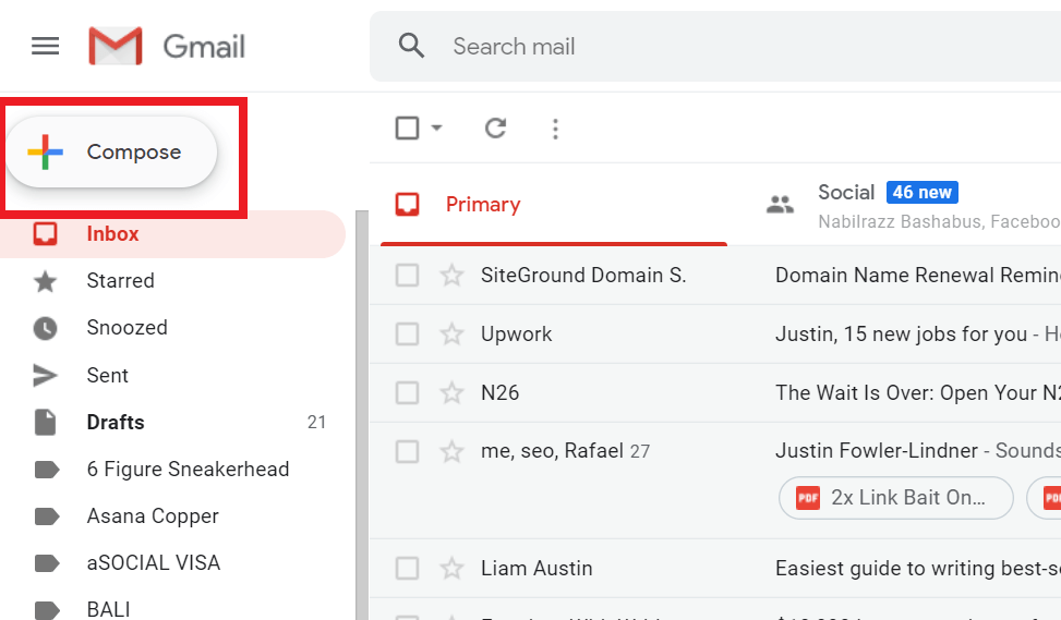 composing an email in gmail