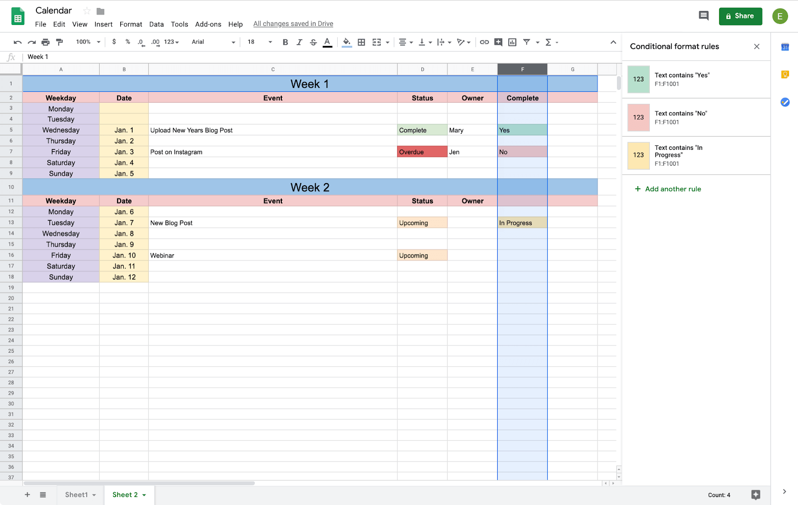 conditional formatting in google sheets calendar