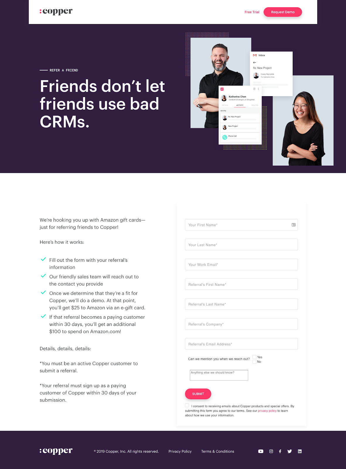 copper crm referral marketing example.
