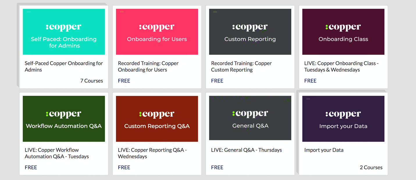 copper's courses on crm