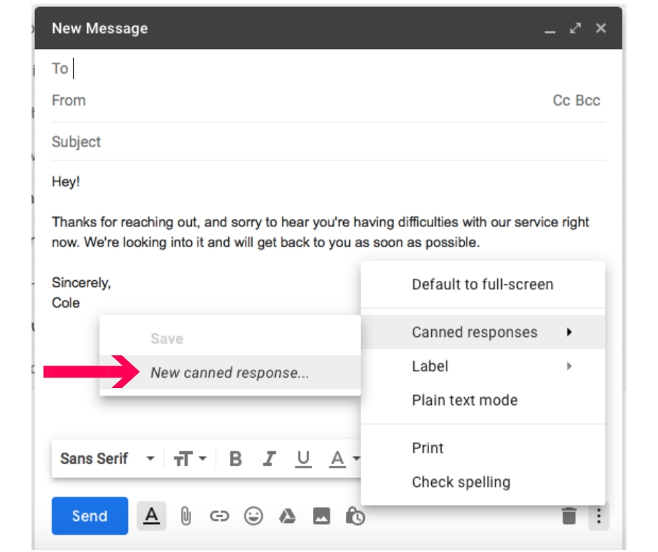 how to create a new canned response in gmail