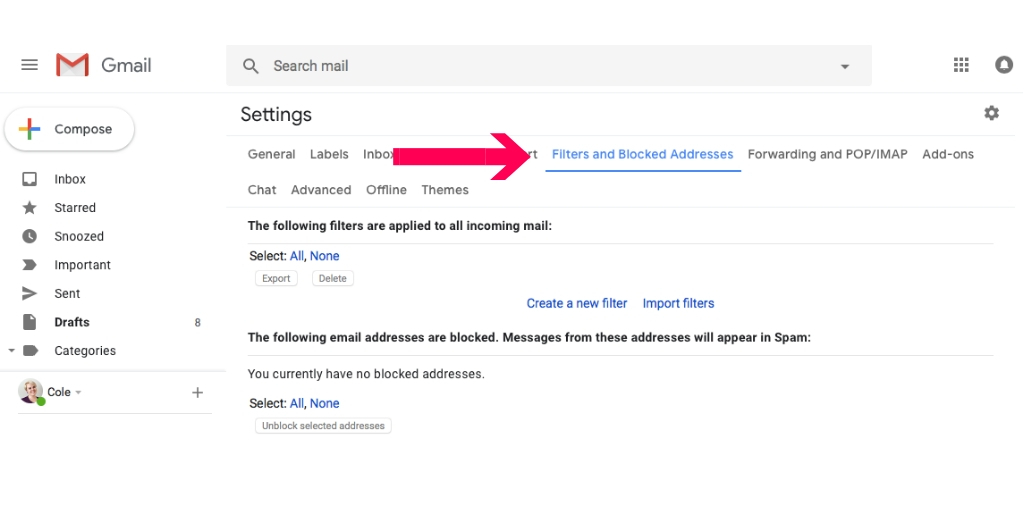 create filter in gmail